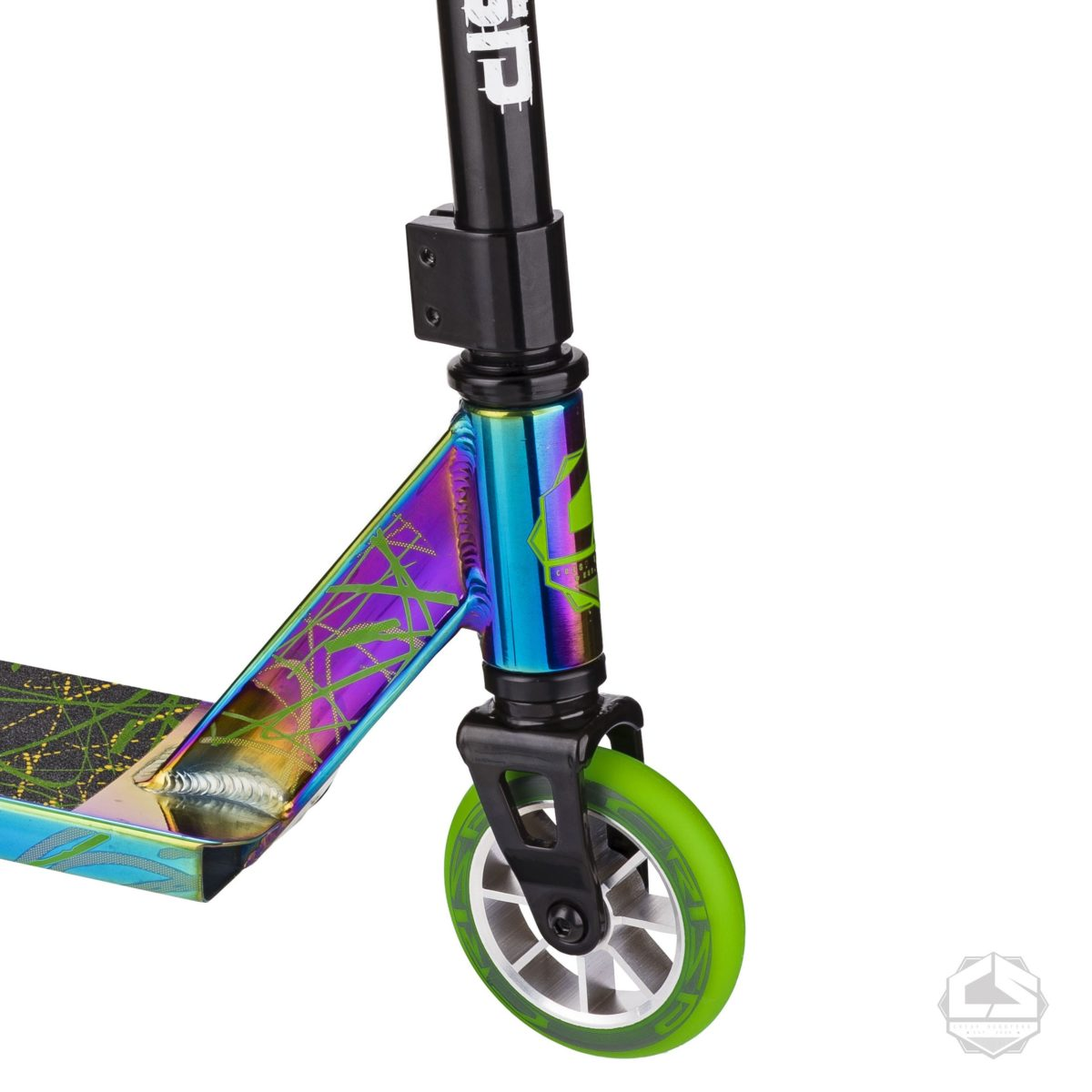 Трюковой самокат Crisp Scooters Surge Chrome Black Green-2