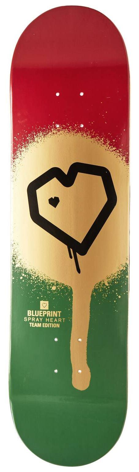 "Скейтборд дека Blueprint Spray Heart Skateboard Deck (8.125"", Spray Heart)"