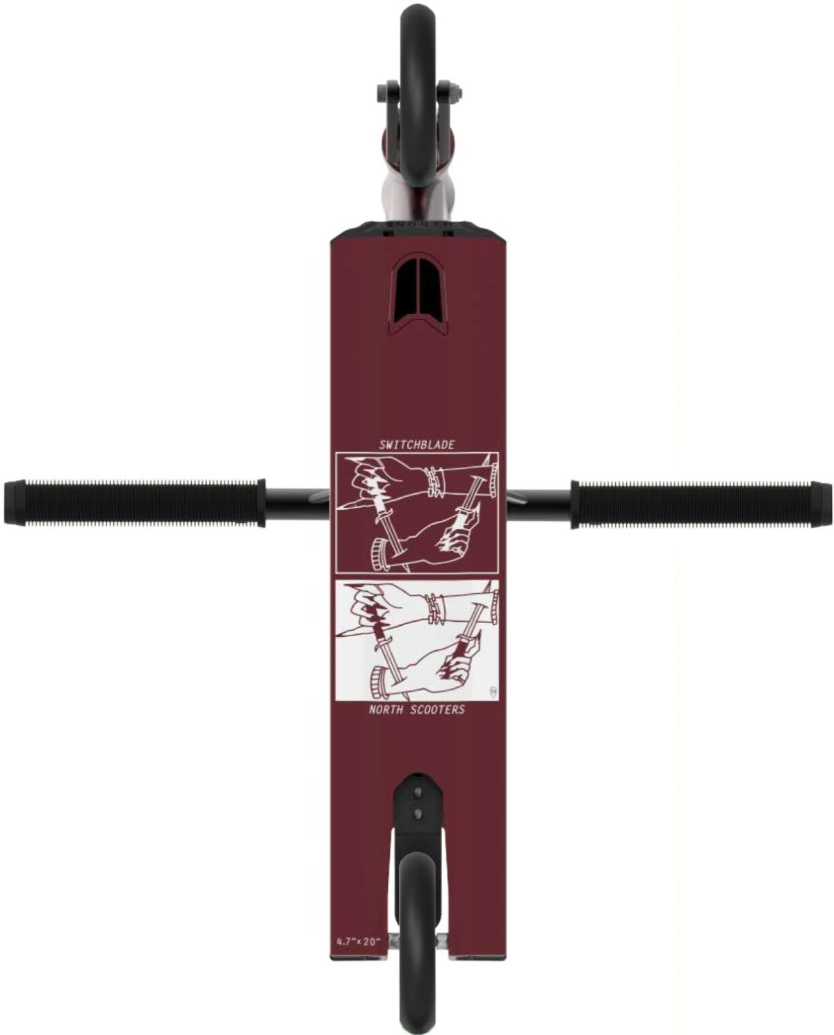 Трюковой самокат North Switchblade 2020 Pro Scooter (Wine Red & Black)-2