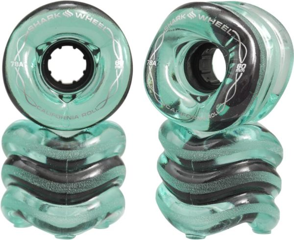 Shark California Roll Longboard Wheels (60mm Transparent Emerald)