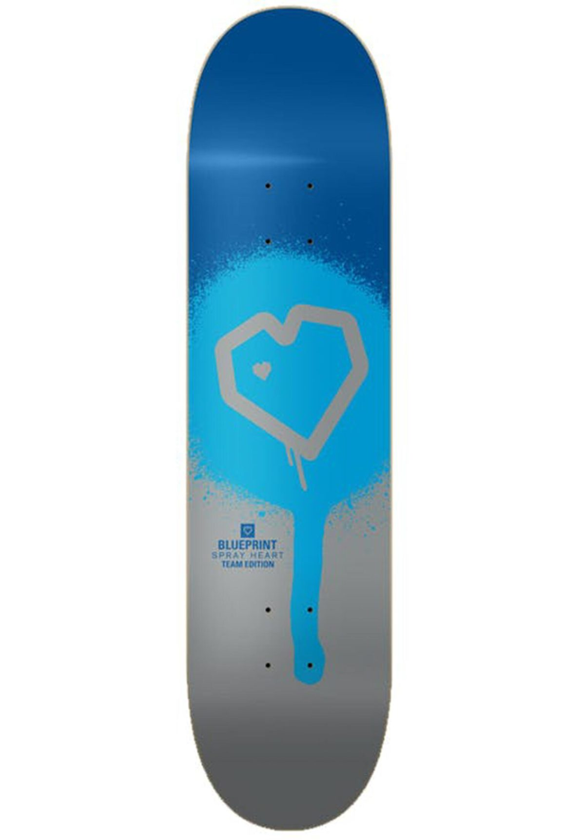 "Скейтборд дека Blueprint Spray Heart Skateboard Deck (8.25""Blue/Silver)"